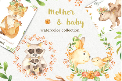 Mother and baby animals. Watercolor clipart