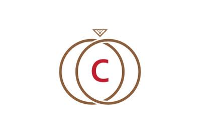 c letter ring diamond logo