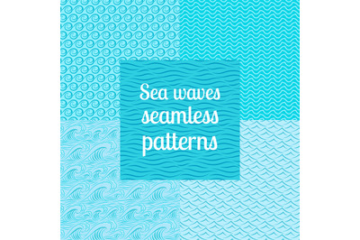 Sea waves seamless patterns set