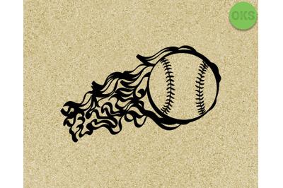 flaming baseball SVG cut files, DXF, vector EPS cutting file