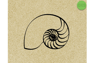 nautilus seashell SVG cut files, DXF, vector EPS cutting file instant