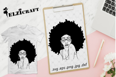 Afro Woman Glasses Silhouette SVG Cut File