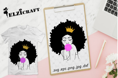 Afro Woman Melanin Poppin Crown Silhouette SVG Cut File