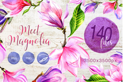 Magnolia Watercolor Set, Hand Painted Flowers, Free Commercial Use, Wa