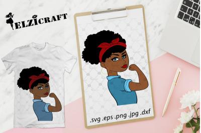 Afro Girl, Girl Power, Feminism, Rosie The Riveter SVG Cut File