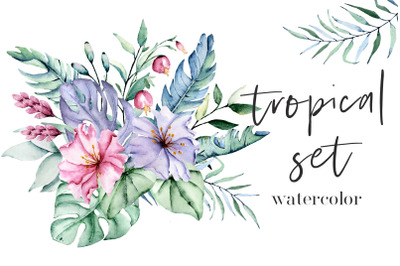 Tropical watercolor set, leaves and flowers