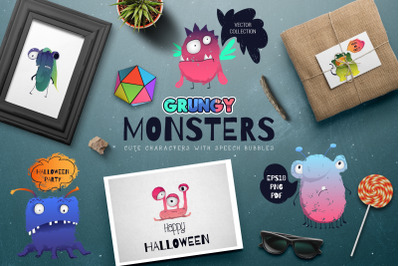 Grungy monsters. Vector set