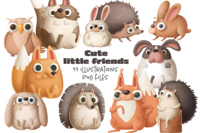Little friends - collection of cute animals