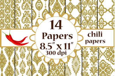 Gold Damask Digital Paper, Damask pattern, A4 digital papers