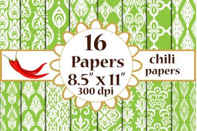 Green Damask Digital Paper,Damask pattern A4 digital papers
