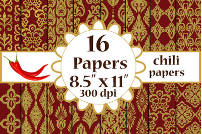 Gold Wedding Damasks, GOLD WEDDING PAPER, Maroon gold papers
