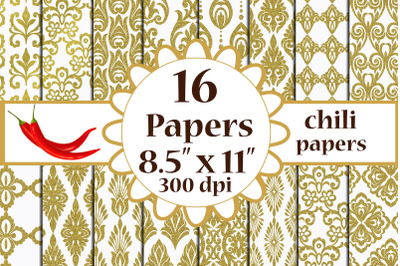 Gold Damask paper, Damask Pattern,A4 papers 8.5x11 inches