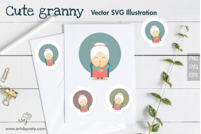 Cute granny holding a recipe book. Flat colorful vector illustration.