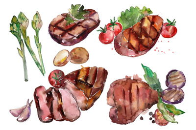 Steak Watercolor Clipart, Caffe Wall Art, Illustration, Wall Art Decor