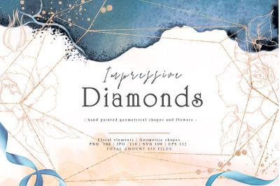 Diamonds Watercolor Clipart, Gemstone, Hand Painted, Wedding Invitatio
