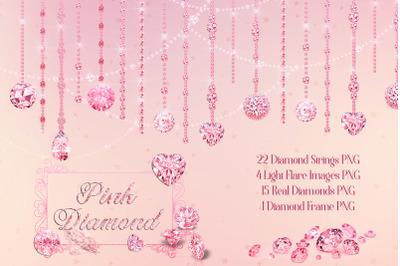 42 Pink Hanging Diamond String Hanging Set Digital Images PNG