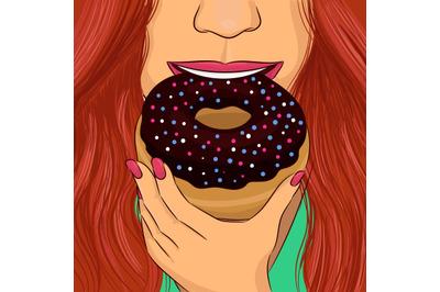 Woman eat donut with chocolate glaze