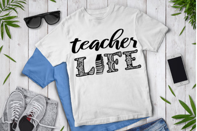 Teacher Life Mandala SVG, Teacher Life SVG, Teacher Clipart.