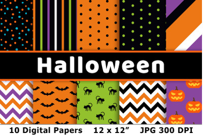 Halloween Digital Papers 3, Halloween Patterns, Fall Digital Paper Set