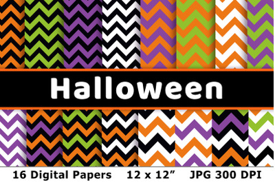 Halloween Digital Papers- Chevron, Zig Zag Halloween Background