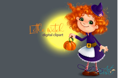 Cute Halloween Little Witch clipart. Pumpkin mouse fall clip art.