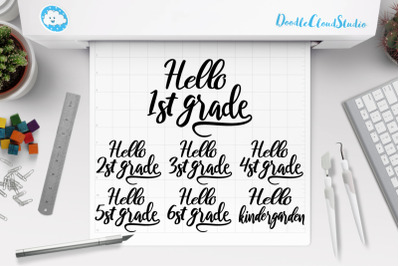 Hello Grade Bundle SVG, 1st Grade of School, School PNG.