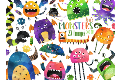 Watercolor Monsters Clipart