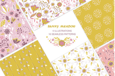Vintage seamless  floral patterns and illustrations. Mustard, pink.