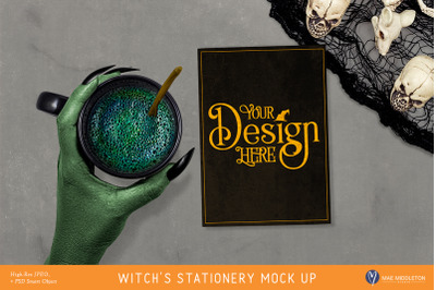 Halloween Mock up - Witch's Stationery / Invitation