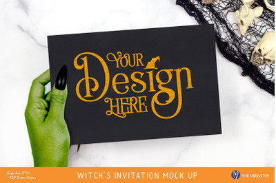 Halloween Mock up - Witch's Invitation