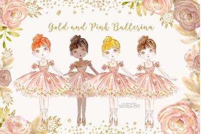 Princess Ballerina Pink Gold clip art, Ballerina Planner Stickers