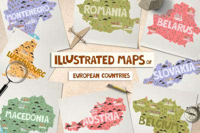 15 maps of European countries