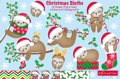 Christmas sloth clipart, Sloth graphics and illustrations -C38