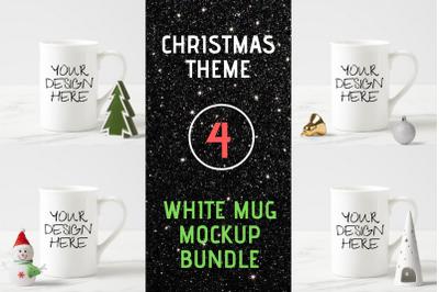 White Mug Mock Up Bundle - Christmas Theme