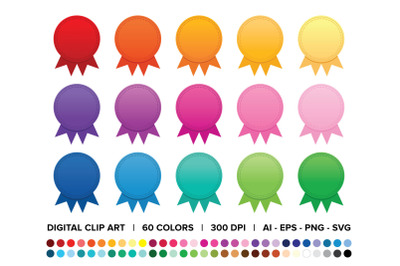 Award Badge Button Clip Art Set