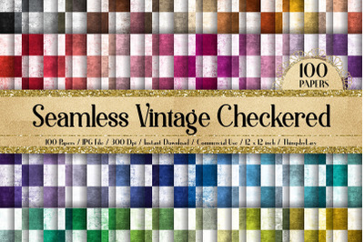 100 Seamless Vintage Checkered Chess Board Digital Papers