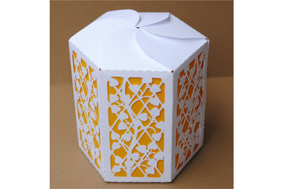 Box 8  Hexagonal  single piece with interior color,  SVG files.