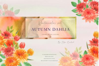 Autumn Dahlia Watercolor Set