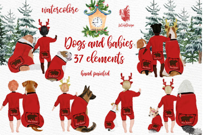 Christmas clipart, Dogs and babies, Christmas Pajamas