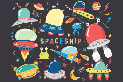 Outer space- Cute Spaceship Elements