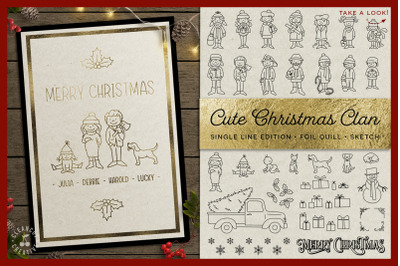 Foil Quill Edition - Cute Christmas Clan - family figures SVG