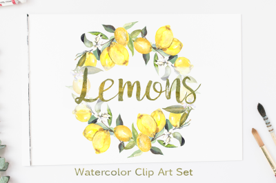 Watercolor Lemons Clip Art Set