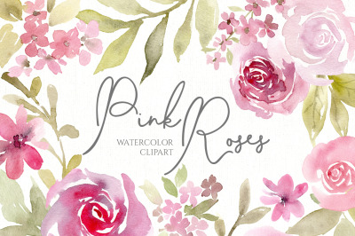 Pink Watercolor Flowers, Bouquets, Pattern PNG