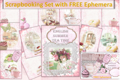 Time For Tea Scrapbooking Kit with FREE Clipart and Ephemera