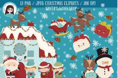 Santa's workshop christmas cliparts