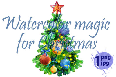 Watercolor illustration Christmas tree decorated with Christmas balls.