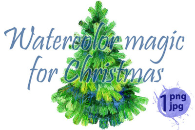 Watercolor green Christmas tree on white background