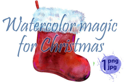 Christmas red sock with white fur. Watercolor illustration. Isolated.