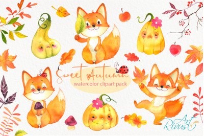 Watercolor Fall woodland Fox clipart pack