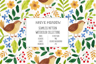 Naive Meadow. Watercolor patterns